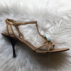 Nine West ButterSand Leather & Stone Heeled Sandal